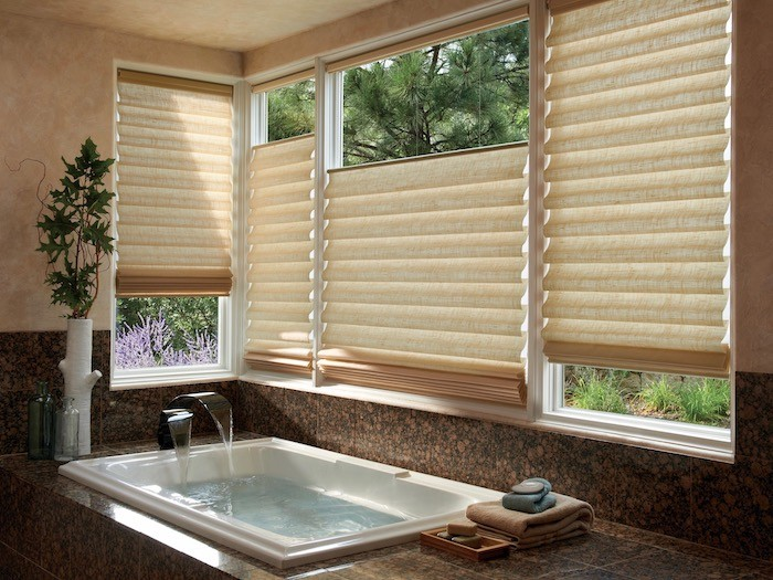 Shades with PowerView® Automation are ideal for windows over the bathtub.